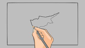 Hand drawn flag of Cyprus animation stock video footage