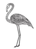 Hand drawn flamingo bird in ornate fancy doodle style. Royalty Free Stock Photo