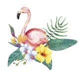 Hand drawn flamingo bird with tropical flowers Stock Photos