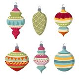 Hand drawn flat Christmas balls collection isolated on white ba stock illustration