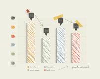 Hand drawn flat column graph. Stock Photography