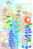 Hand drawn flat floral graphic design for covers, posters, background, garden scene spring and summer. Unique flat floral garden design background, cartoon free vector illustration