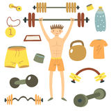 Hand drawn flat style man holding barbell Stock Image