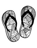 Hand drawn flip flops for coloring book Stock Photo