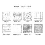 Hand drawn floor coverings. Royalty Free Stock Photos