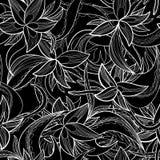 Hand-drawn floral αφηρημένο άνευ ραφής σχέδιο, μονοχρωματικό υπόβαθρο Στοκ εικόνες με δικαίωμα ελεύθερης χρήσης