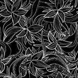 Hand-drawn floral abstract seamless pattern, monochrome background Royalty Free Stock Images