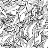 Hand-drawn floral abstract seamless pattern, monochrome background Stock Photos