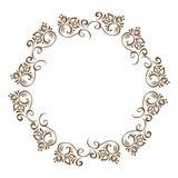 Hand Drawn Floral Autumn Design Elements wreath isolated on white background for retro design flourish. Vector Stock Photo