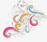 Hand Drawn floral background with detailed frame Stock Image