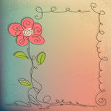 Hand Drawn floral background with detailed frame Royalty Free Stock Image