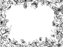 Hand-drawn floral background. Hand-drawn floral frame with butterflies on white background. There is place for your text in the center Royalty Free Stock Images
