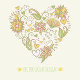 Hand-drawn floral background. Heart shape made of leafs and flowers Stock Photography