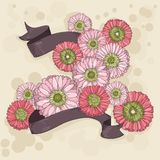 Hand drawn floral background with ribbons Royalty Free Stock Photography
