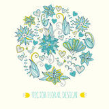 Hand-drawn floral background. Round shape made of leafs and flowers Stock Photos