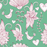 Hand-drawn floral background. Seamless pattern. Royalty Free Stock Image