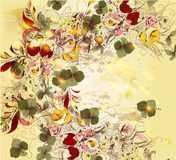 Hand drawn floral background in vintage style Stock Photos