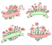 Hand drawn floral banners Stock Photography