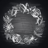 Hand-drawn floral border on blackboard Royalty Free Stock Photo
