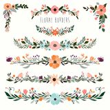 Hand drawn floral borders collection. Floral borders collection  with decorative hand drawn garlands and floral corners Stock Photos