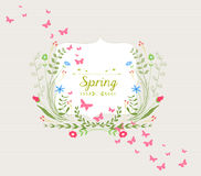 Hand Drawn Floral and butterfly Design Royalty Free Stock Photo