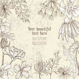 Hand drawn floral card Royalty Free Stock Images