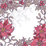 Hand drawn floral Christmas background Stock Photos