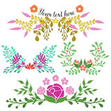 Hand Drawn Floral Compositions Royalty Free Stock Photography