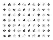 Hand drawn floral decorative design elements. Set of hand drawn floral decorative design elements, vector illustration. Flowers Stock Image