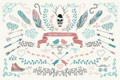 Hand-Drawn Floral Design Elements Stock Images