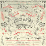 Hand Drawn Floral Design Elements on Crumpled Royalty Free Stock Images