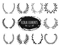 Hand drawn floral doodle design elements Stock Photo