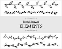Hand drawn floral  elements. Cute items for your branding Royalty Free Stock Photos