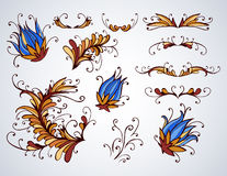 Hand drawn floral elements for design, dividers and flowers. Royalty Free Stock Photo