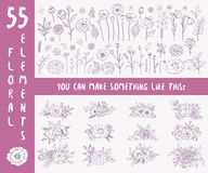 Hand drawn floral elements. Floral set. Collection of 55 floral elements and 12 compositions of different flowers. Hand drawn floral elements. Floral decor for Stock Photos