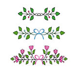 Hand Drawn floral elements. Set of flowers and decorative elements. Royalty Free Stock Photo