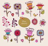Hand Drawn floral elements. Set of flowers. Stock Image