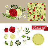 Hand Drawn floral elements. Set of flowers. You Stock Photography