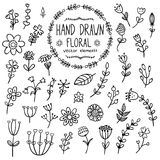 Hand drawn floral elements for your design Royalty Free Stock Photos