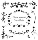 Hand drawn floral flower frame and borders element design Stock Image