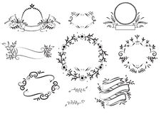 Hand drawn floral flower frame and labels element Royalty Free Stock Photos