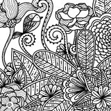 Hand drawn floral and flowers doodle for anti stress adults coloring book. Hand drawn floral and flowers doodle. Beautiful abstract flower for anti stress vector illustration