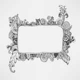 Hand drawn floral frame. Vector artwork. hand drawn floral frame Stock Image