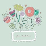 Hand-drawn floral frame Royalty Free Stock Photo