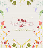Hand Drawn Floral Frame Background Stock Photo