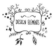 Hand drawn floral frame Stock Photography