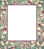 Hand drawn floral frame with orchids Royalty Free Stock Photo