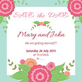 Hand drawn floral frame for wedding invitation. Save the date illustration in summer design. Stock Photos