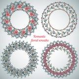 Hand drawn floral frames. Circle natural wreaths Stock Image