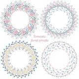 Hand drawn floral frames. Circle natural wreaths Stock Photos